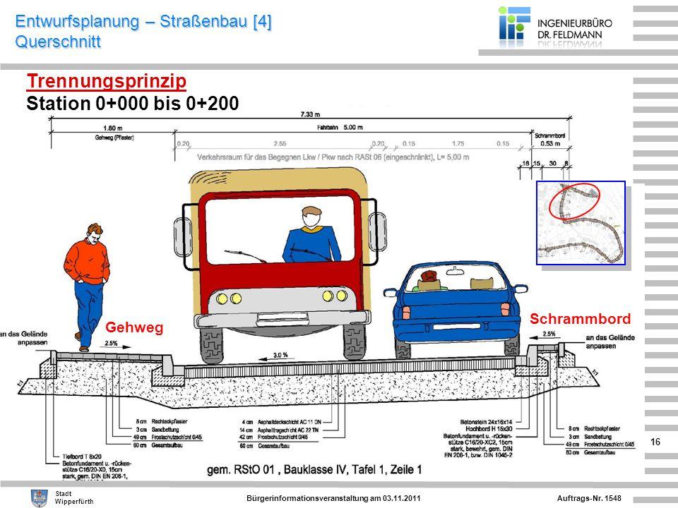 Entwurfsplanung – Straßenbau [4] Querschnitt
